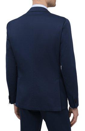Мужской костюм из хлопка и кашемира CORNELIANI темно-синего цвета, арт. 87NY76-1114105/92 | Фото 3 (Рукава: Длинные; Костюмы М: Однобортный; Материал внешний: Хлопок; Стили: Классический; Материал подклада: Вискоза)