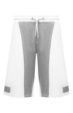 Мужские хлопковые шорты ICEBERG белого цвета, арт. 21E I1P0/D011/6300 | Фото 1 (Материал внешний: Хлопок; Стили: Спорт, Спорт-шик; Кросс-КТ: Трикотаж, Спорт; Принт: С принтом; Длина Шорты М: Ниже колена)