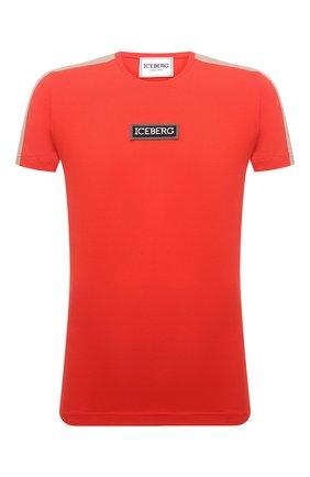 Мужская хлопковая футболка ICEBERG красного цвета, арт. 21E I1P0/F010/6301 | Фото 1 (Материал внешний: Хлопок; Рукава: Короткие; Длина (для топов): Стандартные; Стили: Кэжуэл; Принт: С принтом)