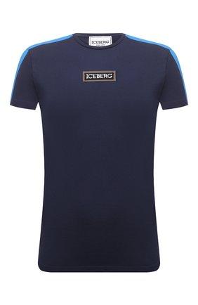 Мужская хлопковая футболка ICEBERG синего цвета, арт. 21E I1P0/F010/6301 | Фото 1 (Рукава: Короткие; Материал внешний: Хлопок; Длина (для топов): Стандартные; Принт: С принтом; Стили: Кэжуэл)