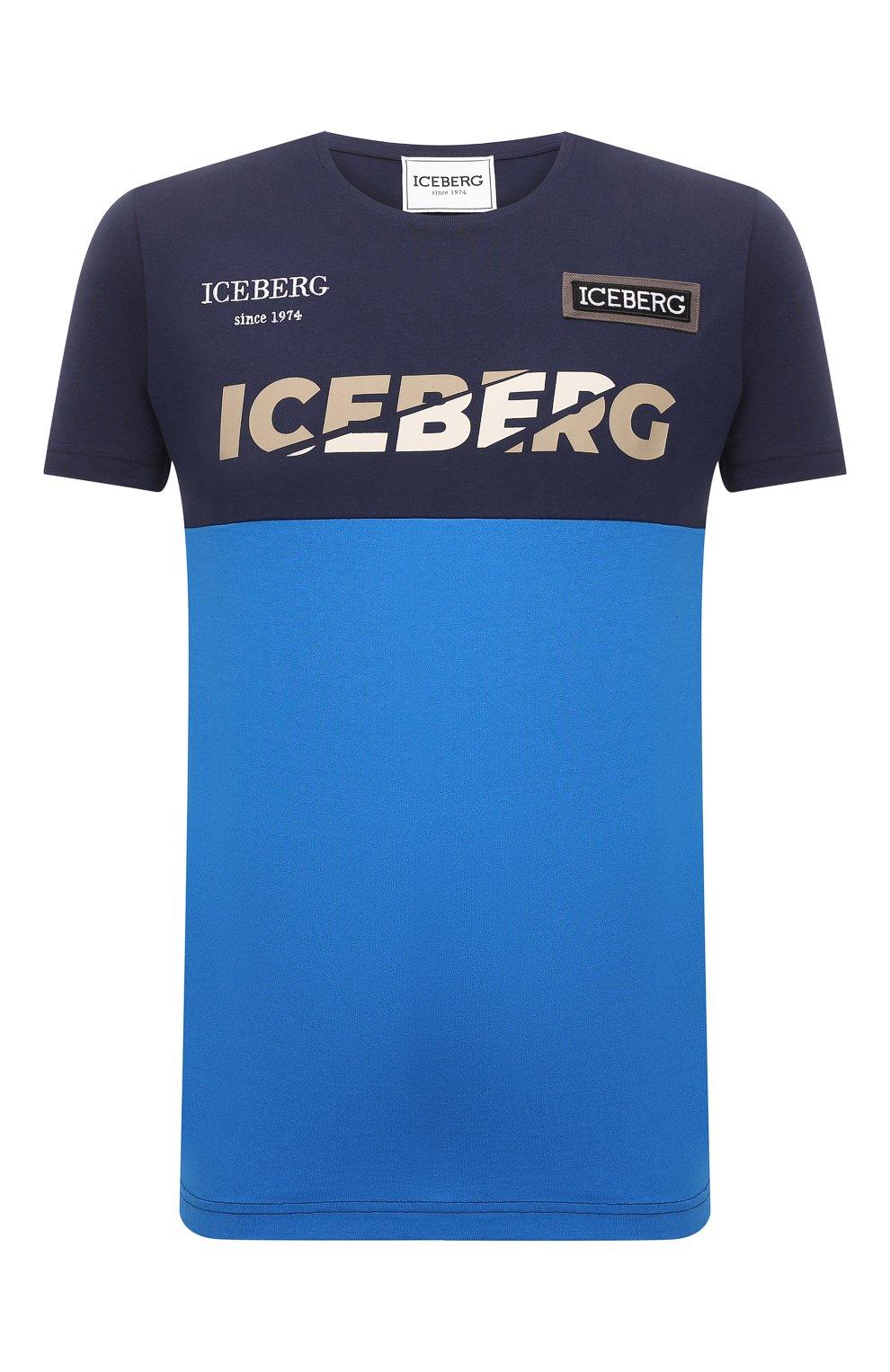 Мужская хлопковая футболка ICEBERG синего цвета, арт. 21E I1P0/F012/6301   Фото 1 (Рукава: Короткие; Длина (для топов): Стандартные; Принт: С принтом; Материал внешний: Хлопок; Стили: Кэжуэл)
