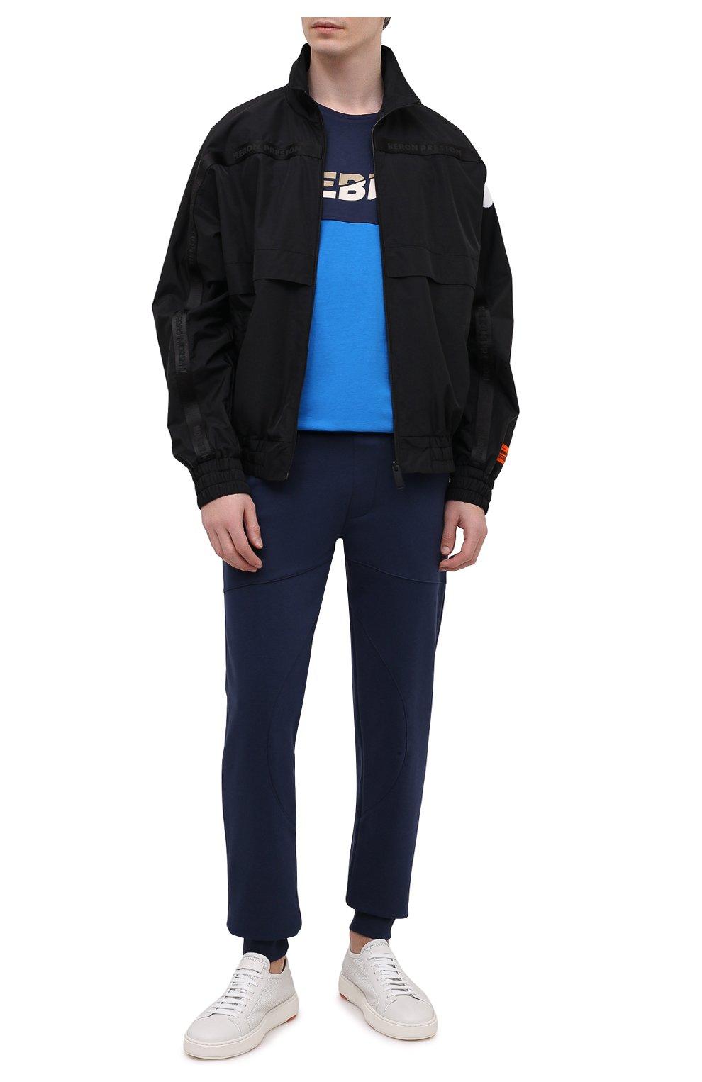 Мужская хлопковая футболка ICEBERG синего цвета, арт. 21E I1P0/F012/6301   Фото 2 (Рукава: Короткие; Длина (для топов): Стандартные; Принт: С принтом; Материал внешний: Хлопок; Стили: Кэжуэл)