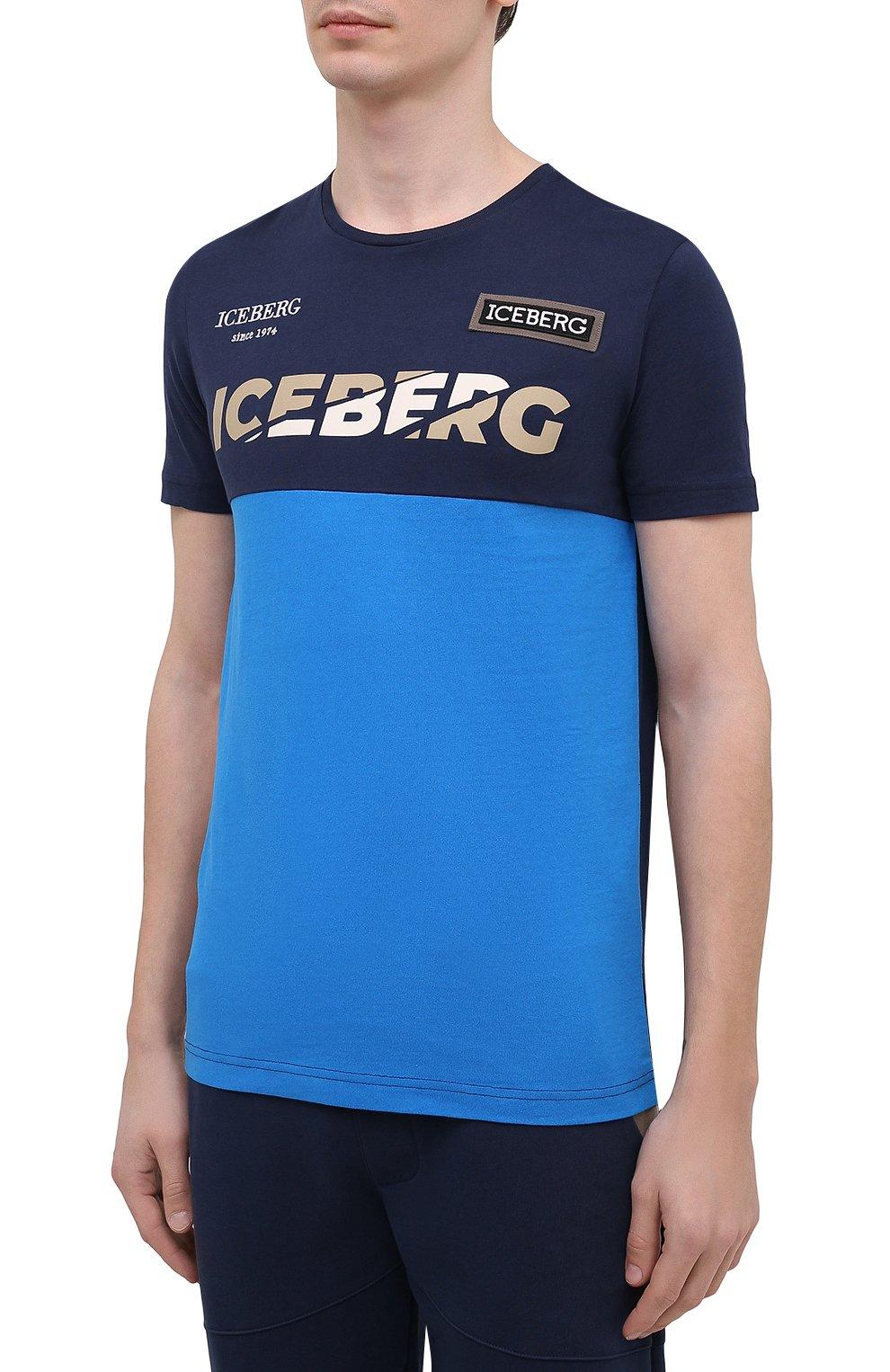 Мужская хлопковая футболка ICEBERG синего цвета, арт. 21E I1P0/F012/6301   Фото 3 (Рукава: Короткие; Длина (для топов): Стандартные; Принт: С принтом; Материал внешний: Хлопок; Стили: Кэжуэл)
