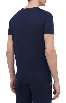 Мужская хлопковая футболка ICEBERG синего цвета, арт. 21E I1P0/F012/6301   Фото 4 (Рукава: Короткие; Длина (для топов): Стандартные; Принт: С принтом; Материал внешний: Хлопок; Стили: Кэжуэл)