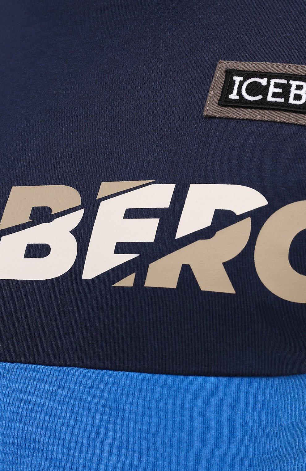 Мужская хлопковая футболка ICEBERG синего цвета, арт. 21E I1P0/F012/6301   Фото 5 (Рукава: Короткие; Длина (для топов): Стандартные; Принт: С принтом; Материал внешний: Хлопок; Стили: Кэжуэл)