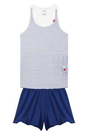 Детская хлопковая пижама SANETTA синего цвета, арт. 244977. | Фото 1