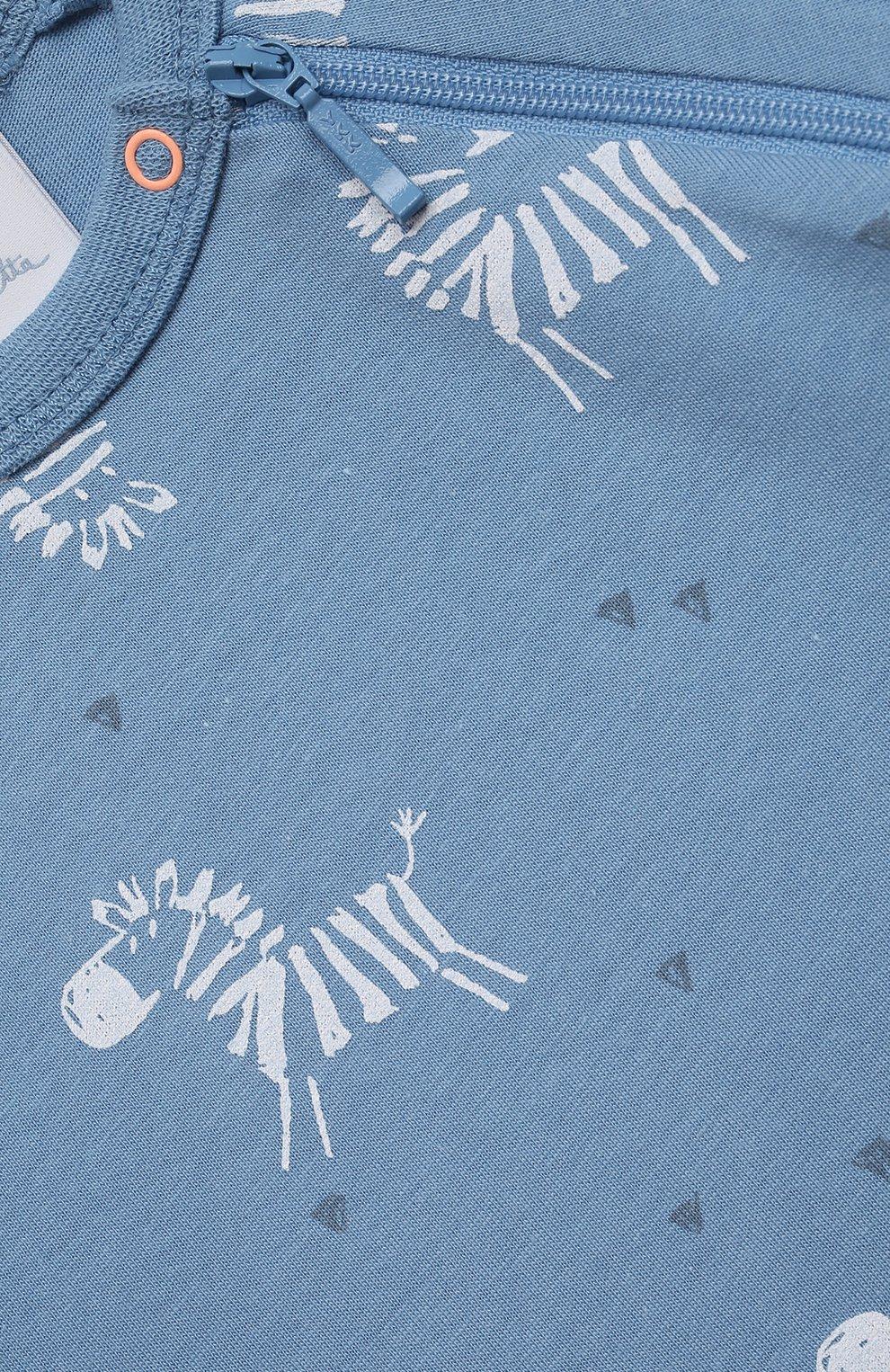 Детский хлопковый комбинезон SANETTA синего цвета, арт. 221609. | Фото 3