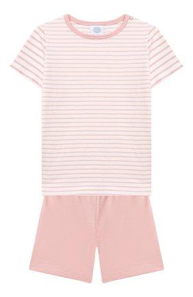 Детская хлопковая пижама SANETTA светло-розового цвета, арт. 221596. | Фото 1