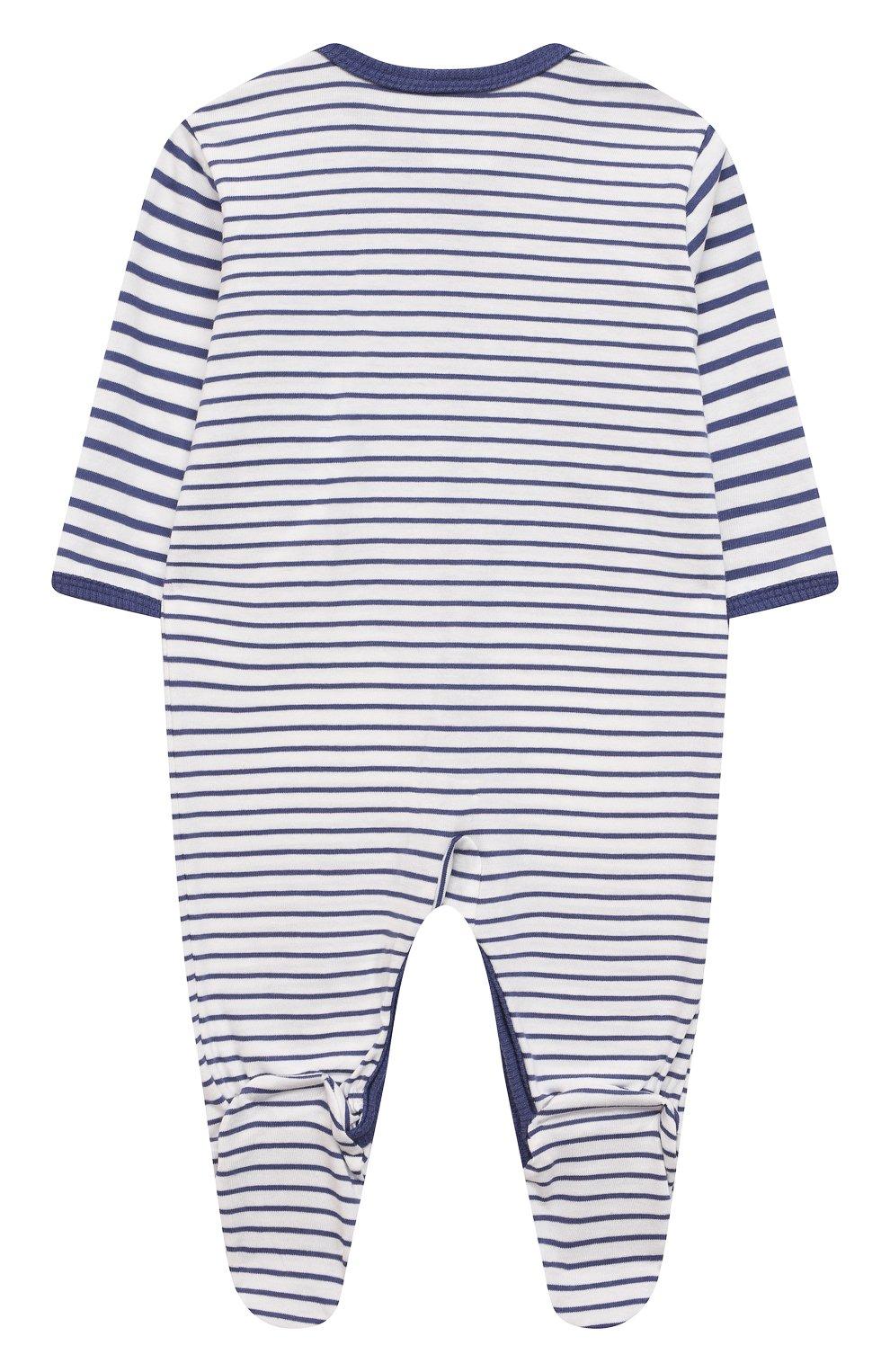Детский хлопковый комбинезон SANETTA синего цвета, арт. 221593. | Фото 2