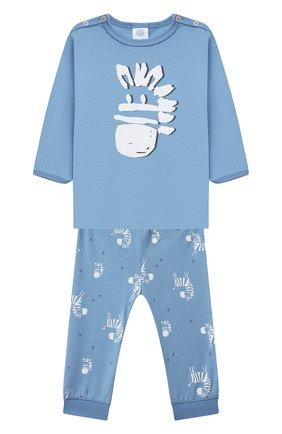 Детский хлопковая пижама SANETTA синего цвета, арт. 221608. | Фото 1