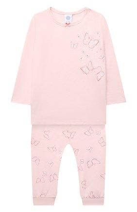 Детская хлопковая пижама SANETTA светло-розового цвета, арт. 221615. | Фото 1