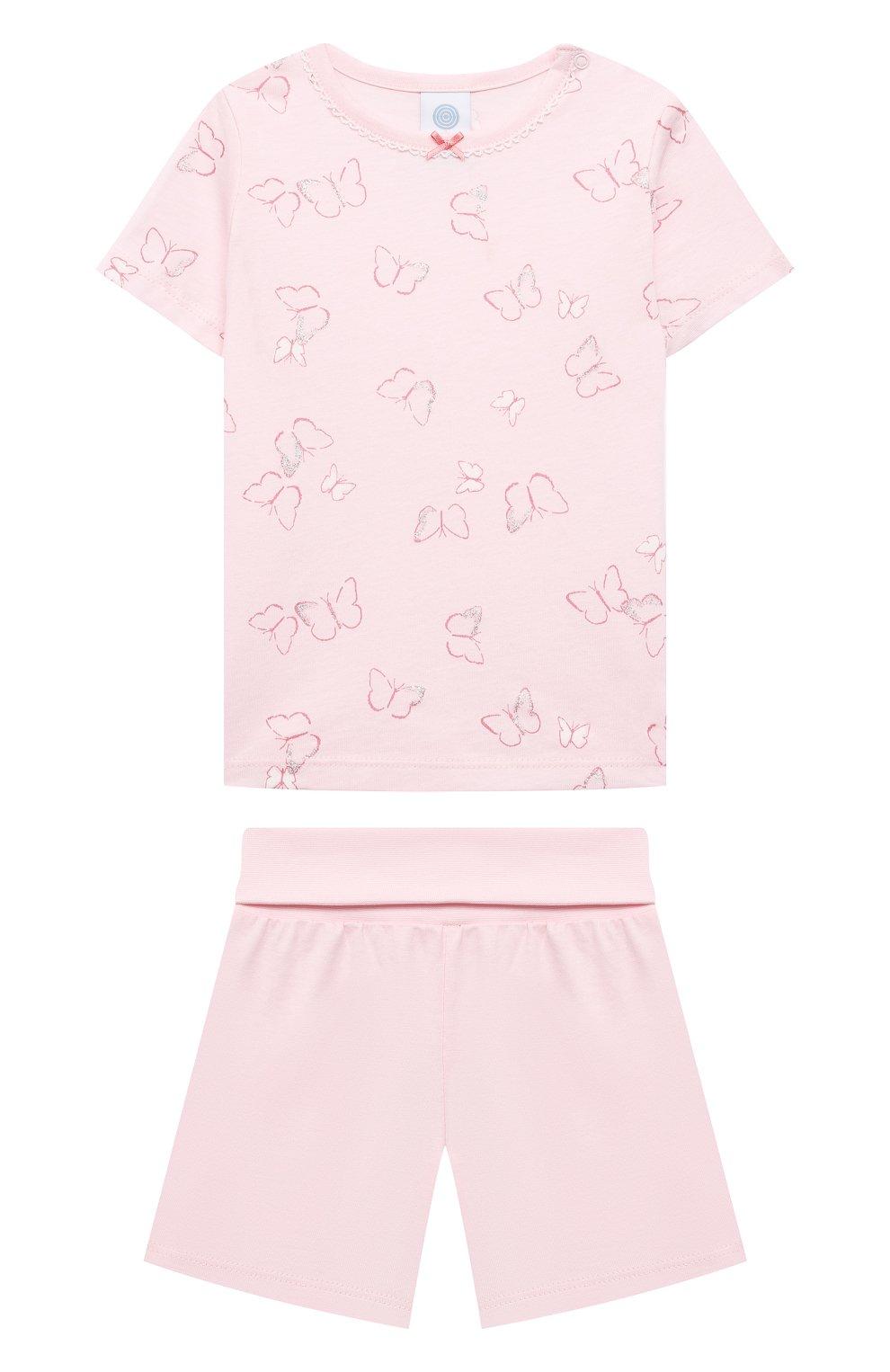 Детская хлопковая пижама SANETTA светло-розового цвета, арт. 221613. | Фото 1