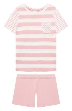 Детская хлопковая пижама SANETTA светло-розового цвета, арт. 232568. | Фото 1