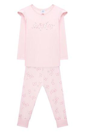 Детский хлопковая пижама SANETTA светло-розового цвета, арт. 232608. | Фото 1