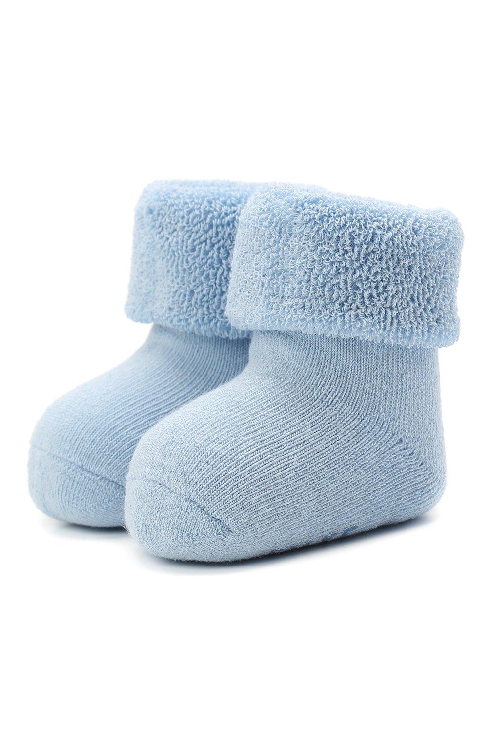 Детские хлопковые носки FALKE голубого цвета, арт. 10612.   Фото 1 (Материал: Текстиль, Хлопок)