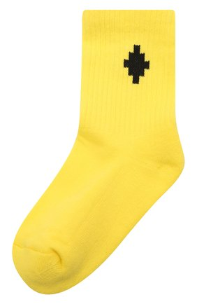 Детские хлопковые носки MARCELO BURLON KIDS OF MILAN желтого цвета, арт. 21E/B/MB/6000/7010 | Фото 1