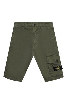 Детские хлопковые шорты STONE ISLAND темно-зеленого цвета, арт. 7416L0412/14   Фото 1