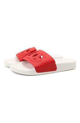 Детские кожаные шлепанцы DOLCE & GABBANA красного цвета, арт. D11031/A1735/37-39   Фото 1 (Материал внутренний: Натуральная кожа)