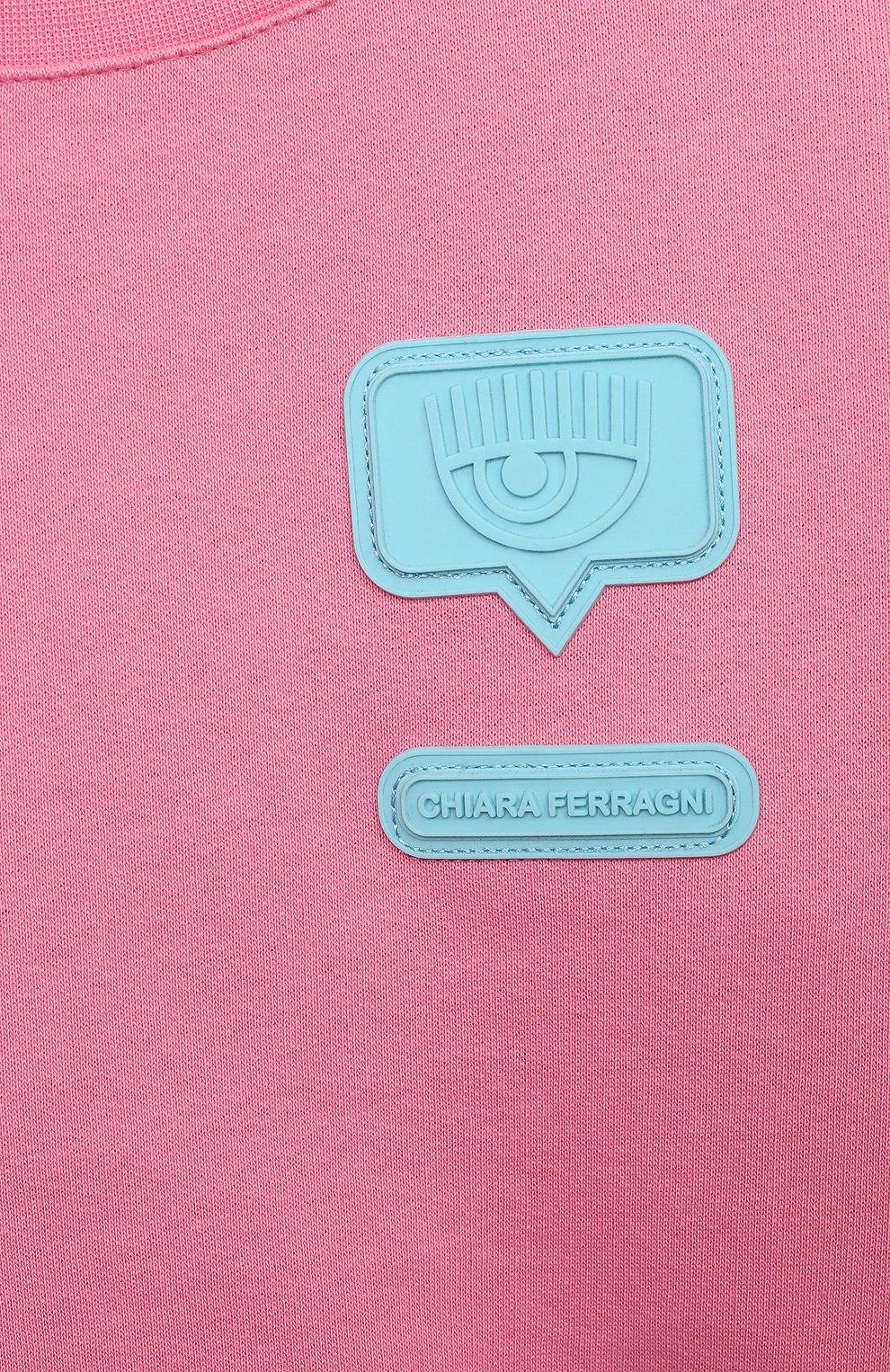 Детский укороченный свитшот из хлопка CHIARA FERRAGNI розового цвета, арт. 21PE-CFKF057 | Фото 3 (Рукава: Длинные; Девочки Кросс-КТ: Толстовка-одежда; Материал внешний: Хлопок; Ростовка одежда: 10 - 11 лет | 140 - 146см, 13 - 15 лет | 158 см, 5 лет | 110 см, 7 лет | 122 см, 9 лет | 134 см)