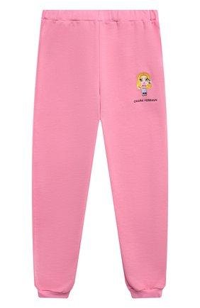 Детские хлопковые джоггеры CHIARA FERRAGNI розового цвета, арт. 21PE-CFKP018 | Фото 1
