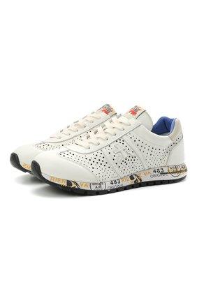 Детские кожаные кроссовки PREMIATA WILL BE белого цвета, арт. LUCY/12-11217/JUN | Фото 1 (Материал внутренний: Натуральная кожа)
