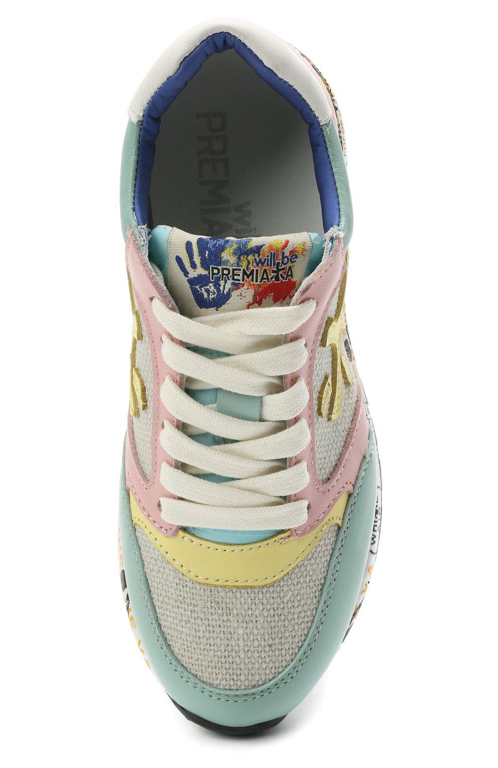 Детские кроссовки PREMIATA WILL BE разноцветного цвета, арт. ZAC ZAC/12-91536/CHILD | Фото 4 (Материал внешний: Текстиль; Материал внутренний: Натуральная кожа)