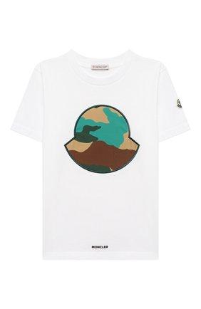 Детская хлопковая футболка MONCLER белого цвета, арт. G1-954-8C759-20-83907/4-6A   Фото 1