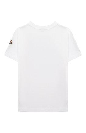 Детская хлопковая футболка MONCLER белого цвета, арт. G1-954-8C759-20-83907/4-6A   Фото 2