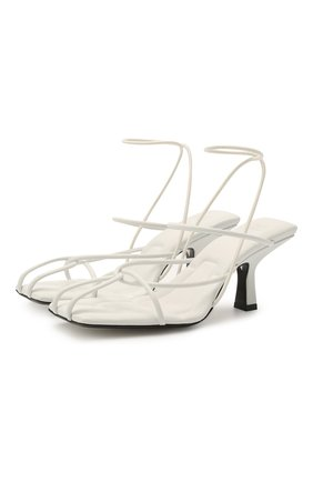 Женские кожаные босоножки monza heeled KHAITE белого цвета, арт. F3012-723/M0NZA | Фото 1 (Материал внутренний: Натуральная кожа; Каблук тип: Устойчивый; Каблук высота: Средний; Подошва: Плоская)