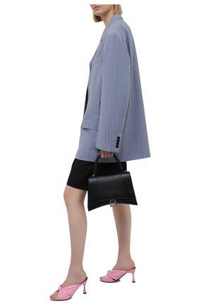 Женские кожаные мюли drapy BALENCIAGA розового цвета, арт. 617574/WA2M0 | Фото 2