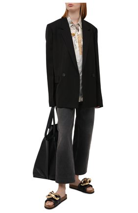 Женские кожаные шлепанцы chain JW ANDERSON черного цвета, арт. ANW36015A/12140 | Фото 2