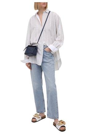 Женские кожаные шлепанцы chain JW ANDERSON белого цвета, арт. ANW36015A/13007 | Фото 2