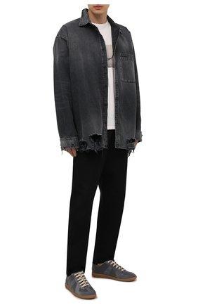Мужские кожаные кеды replica MAISON MARGIELA серого цвета, арт. S57WS0236/P1895 | Фото 2 (Материал внутренний: Натуральная кожа, Текстиль; Подошва: Плоская)