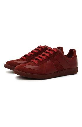 Мужские кожаные кеды replica MAISON MARGIELA красного цвета, арт. S57WS0236/P1897 | Фото 1