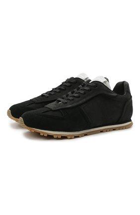 Мужские замшевые кроссовки MAISON MARGIELA черного цвета, арт. S57WS0373/P3976 | Фото 1 (Материал внутренний: Натуральная кожа, Текстиль; Материал внешний: Замша; Подошва: Массивная; Стили: Гранж)