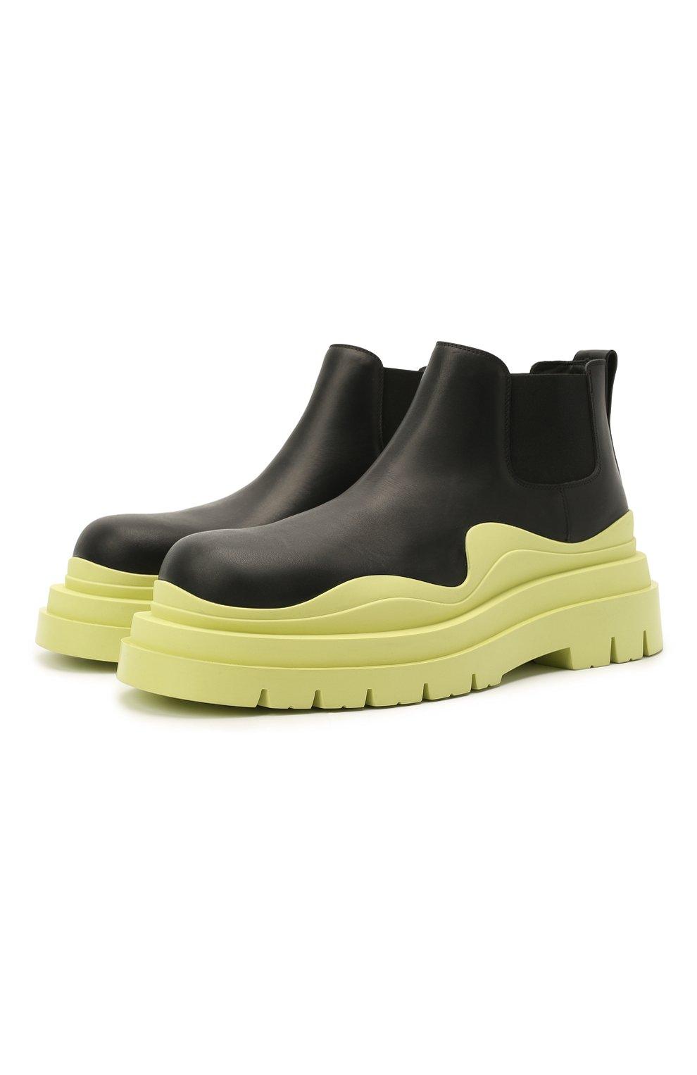 Мужские кожаные челси tire BOTTEGA VENETA светло-зеленого цвета, арт. 630281/VBS50 | Фото 1 (Каблук высота: Высокий; Материал внутренний: Натуральная кожа; Подошва: Массивная; Мужское Кросс-КТ: Сапоги-обувь, Челси-обувь)