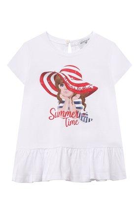 Детский хлопковая футболка MONNALISA белого цвета, арт. 317613P2. | Фото 1 (Материал внешний: Хлопок; Рукава: Короткие; Ростовка одежда: 12 мес | 80 см, 18 мес | 86 см)