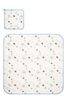 Детского комплект из двух полотенец ADEN+ANAIS голубого цвета, арт. 3201 | Фото 1 (Материал: Хлопок, Текстиль)