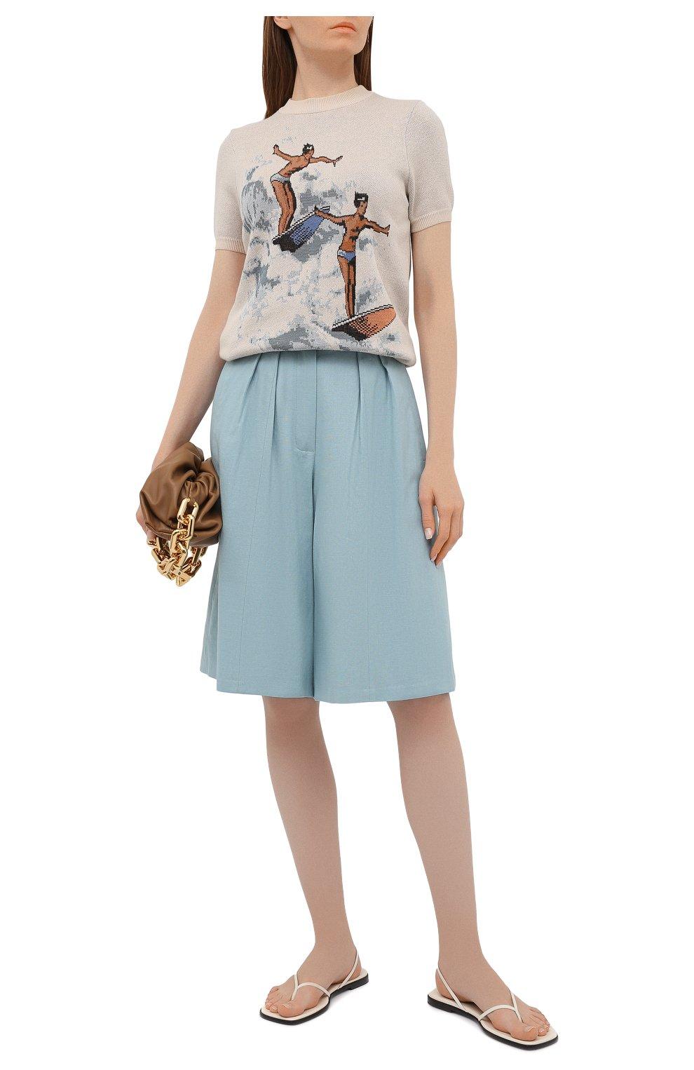 Женские шорты из льна и хлопка LESYANEBO бирюзового цвета, арт. SS21/Н-469/L_1   Фото 2 (Женское Кросс-КТ: Шорты-одежда; Кросс-КТ: Широкие; Материал внешний: Хлопок, Лен; Длина Ж (юбки, платья, шорты): До колена; Стили: Романтичный)