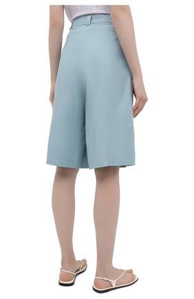 Женские шорты из льна и хлопка LESYANEBO бирюзового цвета, арт. SS21/Н-469/L_1   Фото 4 (Женское Кросс-КТ: Шорты-одежда; Кросс-КТ: Широкие; Материал внешний: Хлопок, Лен; Длина Ж (юбки, платья, шорты): До колена; Стили: Романтичный)
