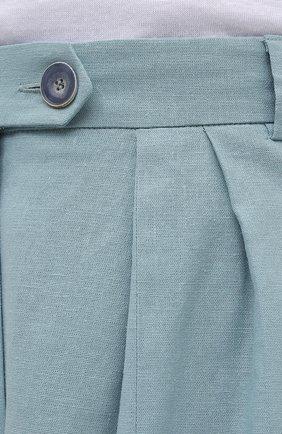 Женские шорты из льна и хлопка LESYANEBO бирюзового цвета, арт. SS21/Н-469/L_1   Фото 5 (Женское Кросс-КТ: Шорты-одежда; Кросс-КТ: Широкие; Материал внешний: Хлопок, Лен; Длина Ж (юбки, платья, шорты): До колена; Стили: Романтичный)