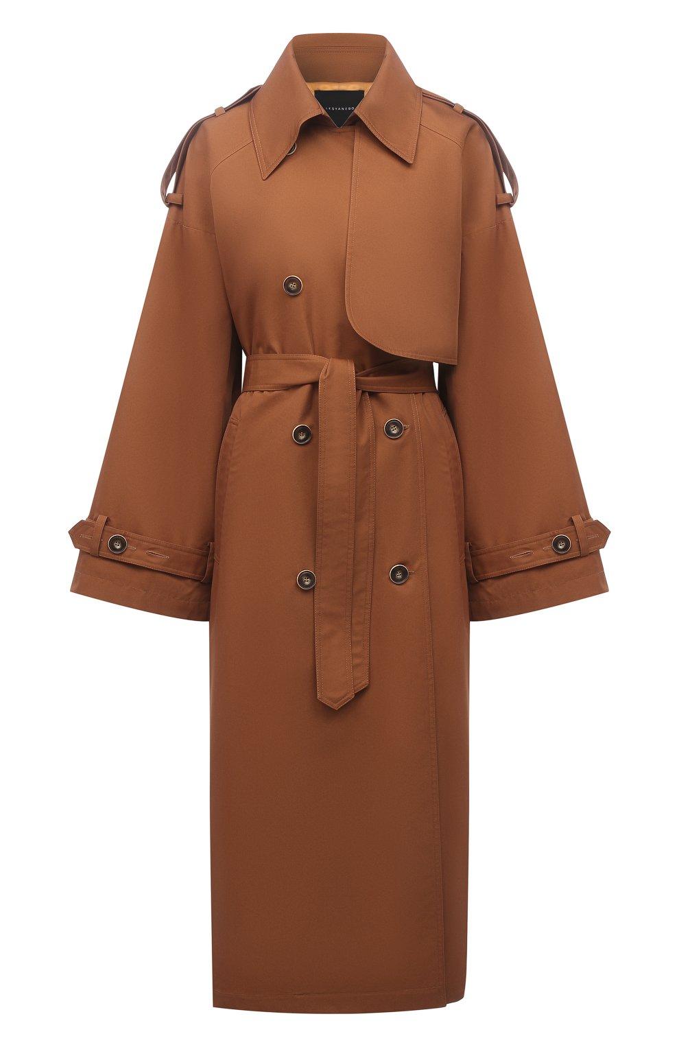 Женский двубортный тренч LESYANEBO коричневого цвета, арт. SS21/Н-465_9 | Фото 1 (Рукава: Длинные; Материал внешний: Синтетический материал, Хлопок; Длина (верхняя одежда): Длинные; Стили: Кэжуэл)