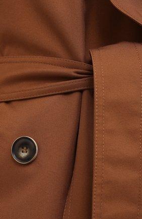 Женский двубортный тренч LESYANEBO коричневого цвета, арт. SS21/Н-465_9 | Фото 5 (Рукава: Длинные; Материал внешний: Синтетический материал, Хлопок; Длина (верхняя одежда): Длинные; Стили: Кэжуэл)