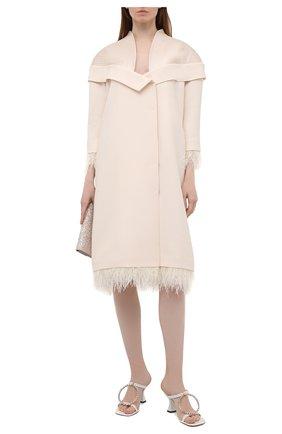 Женское платье из шерсти и шелка TEGIN кремвого цвета, арт. SC2142 | Фото 2