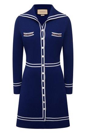 Женское шерстяное платье GUCCI синего цвета, арт. 644564/XKBNZ | Фото 1 (Стили: Романтичный; Длина Ж (юбки, платья, шорты): Мини; Рукава: Длинные; Материал внешний: Шерсть; Случай: Повседневный; Женское Кросс-КТ: Платье-одежда)
