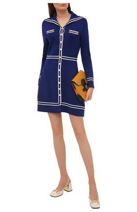 Женское шерстяное платье GUCCI синего цвета, арт. 644564/XKBNZ | Фото 2 (Стили: Романтичный; Длина Ж (юбки, платья, шорты): Мини; Рукава: Длинные; Материал внешний: Шерсть; Случай: Повседневный; Женское Кросс-КТ: Платье-одежда)