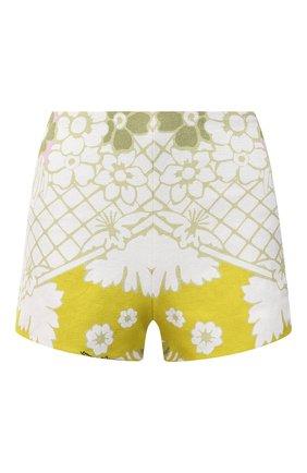 Женские шорты VALENTINO желтого цвета, арт. VB3RF1F969L | Фото 1 (Длина Ж (юбки, платья, шорты): Мини; Материал внешний: Растительное волокно; Стили: Романтичный; Женское Кросс-КТ: Шорты-одежда)