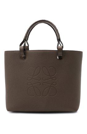Женский сумка-тоут anagram small LOEWE бежевого цвета, арт. A717S72X03 | Фото 1 (Материал: Натуральная кожа; Ошибки технического описания: Нет ширины; Размер: small; Сумки-технические: Сумки-шопперы)