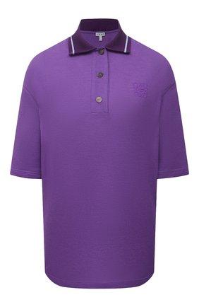 Женское поло из хлопка и кашемира LOEWE фиолетового цвета, арт. S540Y07X30 | Фото 1