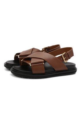 Женские кожаные сандалии MARNI коричневого цвета, арт. FBMS005201/P3614 | Фото 1